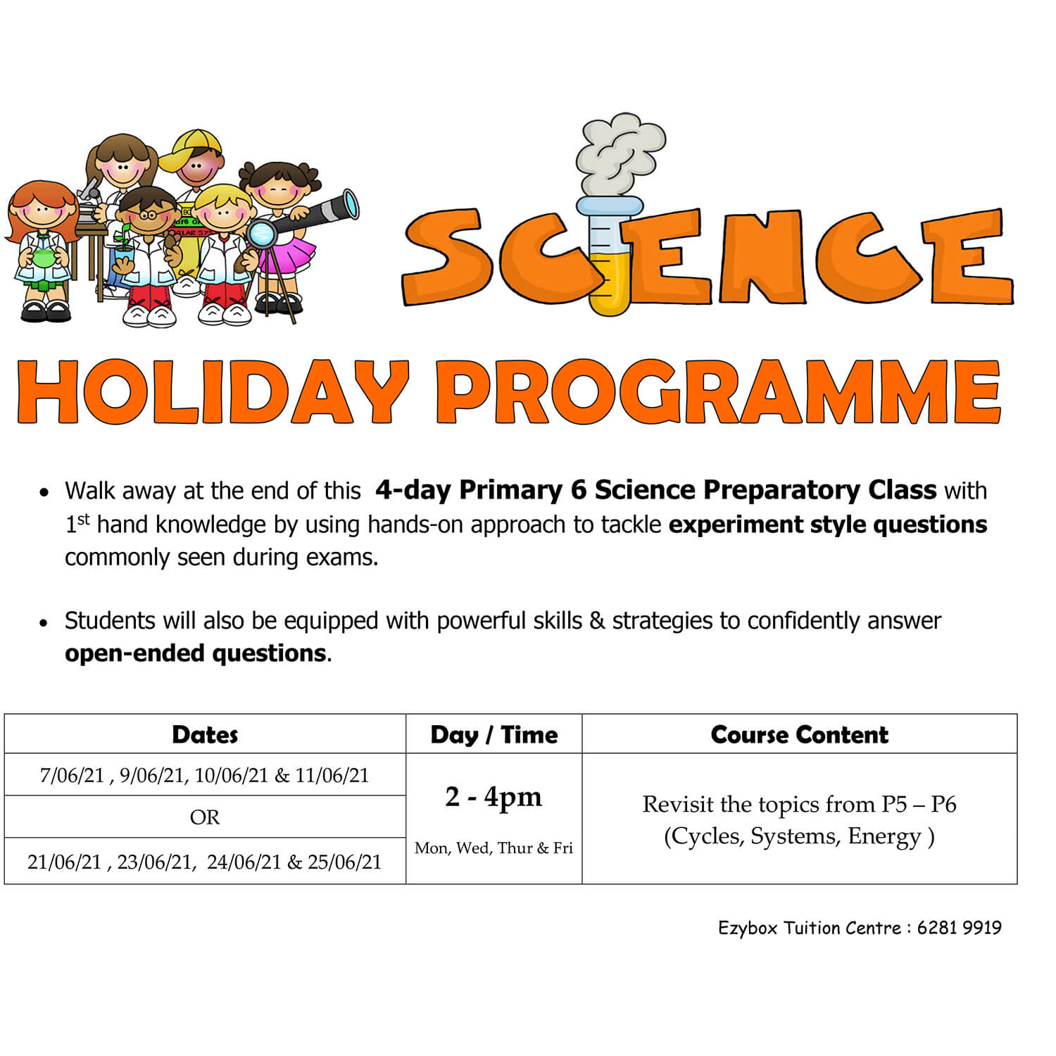 2021 June Science Holiday programme (P6)
